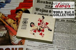 Karty do gry w drewnianym pudełku - 2x55 Playing Cards - U.S. ARMY - PIN-UP Girl