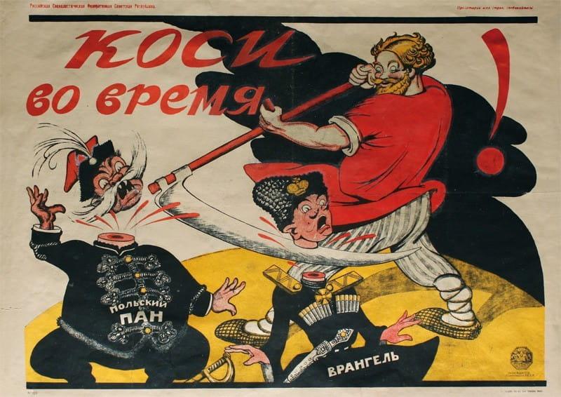 Rosyjski Plakat Propagandowy Koś W Odpowiednim Czasie